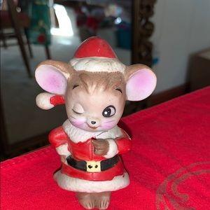 Vtg ceramic winking Christmas mouse
